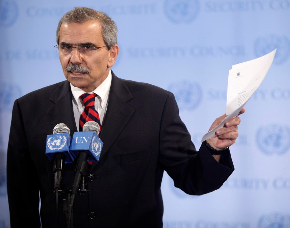 Then-Lebanese Ambassador to the UN Nawaf Salam holds a copy of a letter requesting recognition of Palestinian statehood at UN headquarters, Sept. 23, 2011. (File Photo: AP)