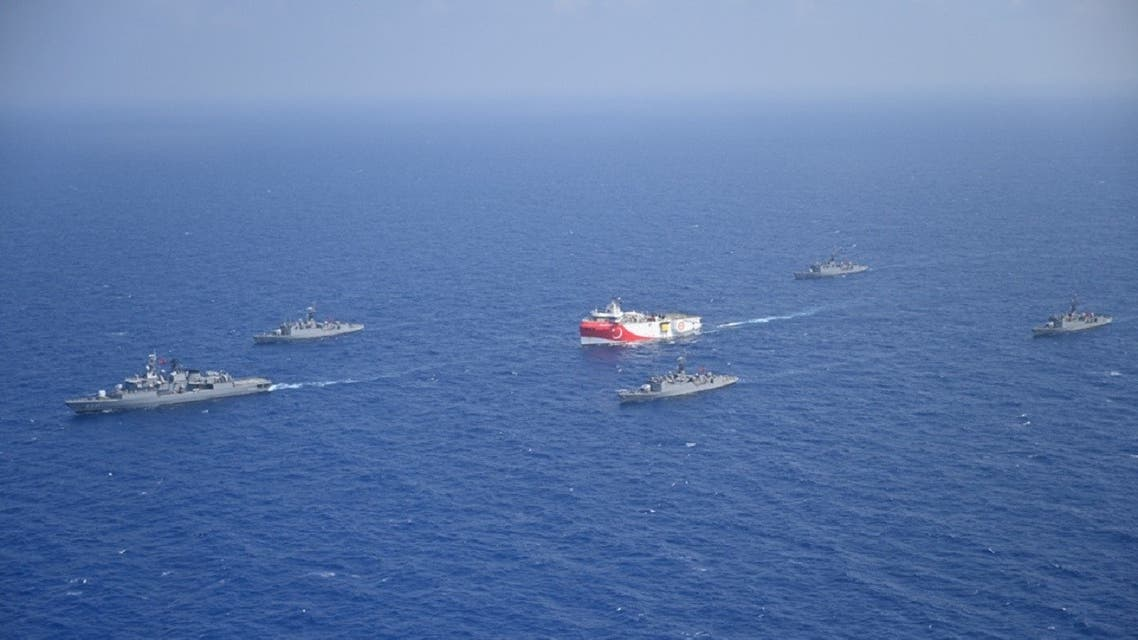 Turkish seismic research vessel Oruc Reis is escorted by Turkish Navy ships as it sets sail in the Mediterranean Sea, off Antalya, Turkey, on August 10, 2020. (Reuters)