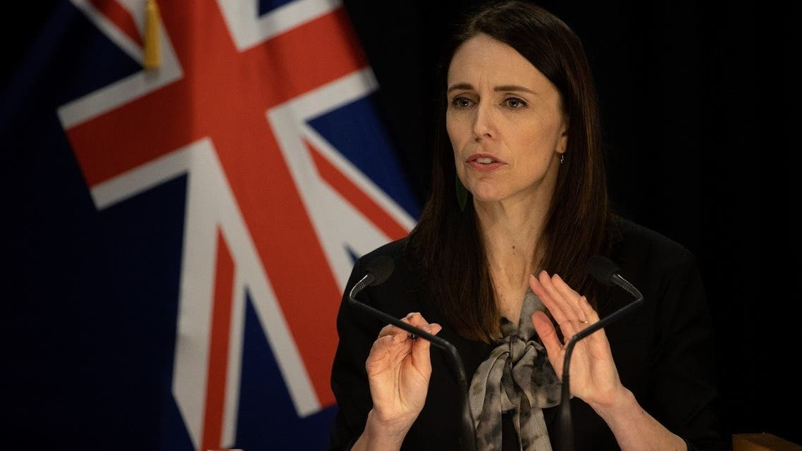 New Zealand's Prime Minister Jacinda Ardern speaks to media regarding the latest case of coronavirus infections, at the parliament in Auckland on August 12, 2020. (AFP)