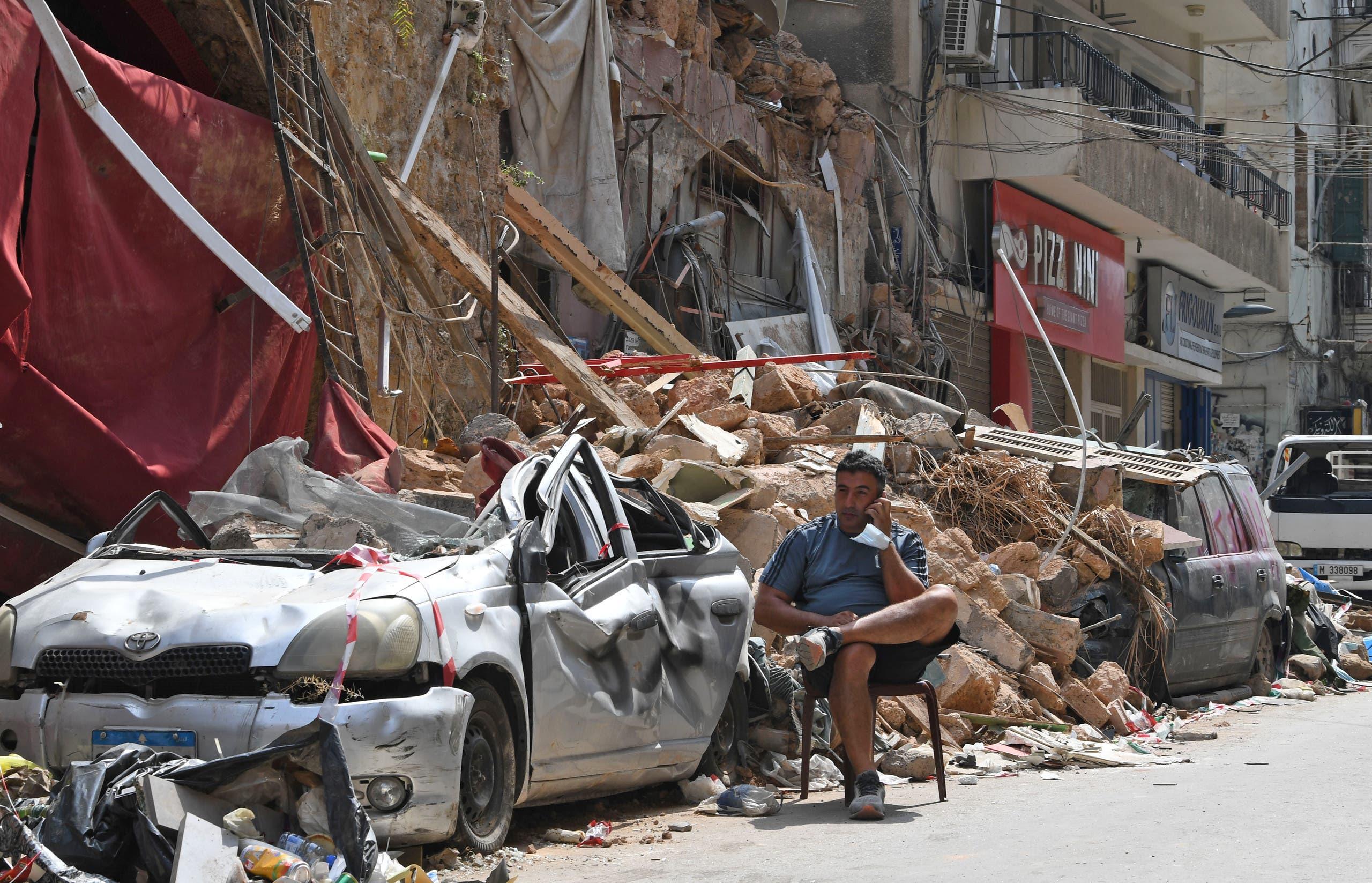 الدمار في المناطق السكنية المحيطة بالمرفأ