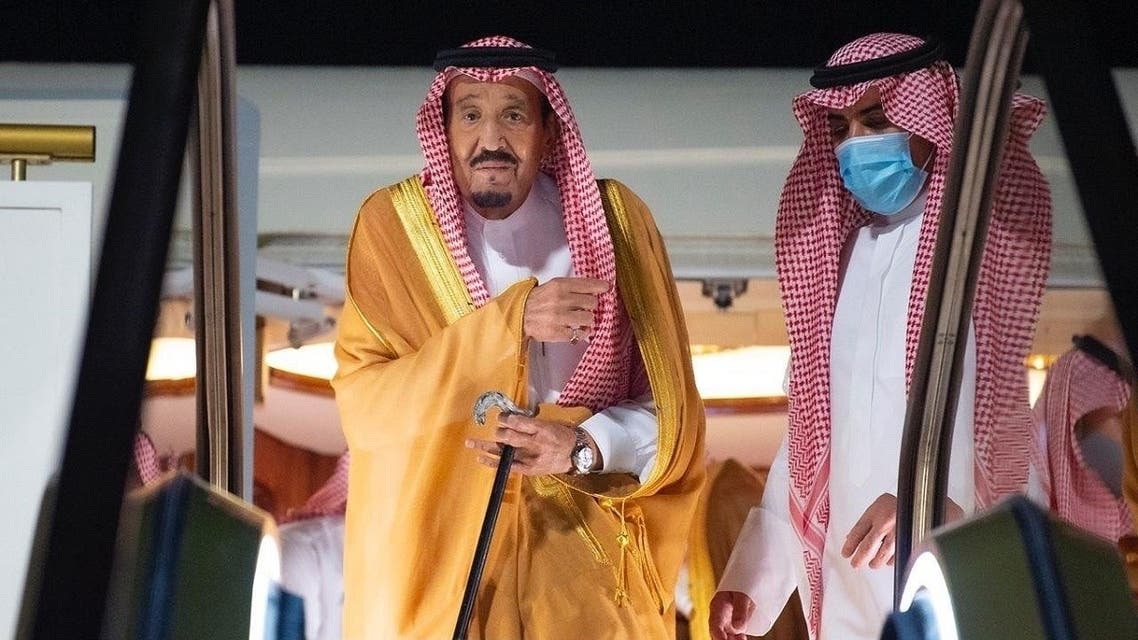 Saudi Arabia's King Salman bin Abdulaziz arrives to NEOM, Aug. 12, 2020. (SPA)