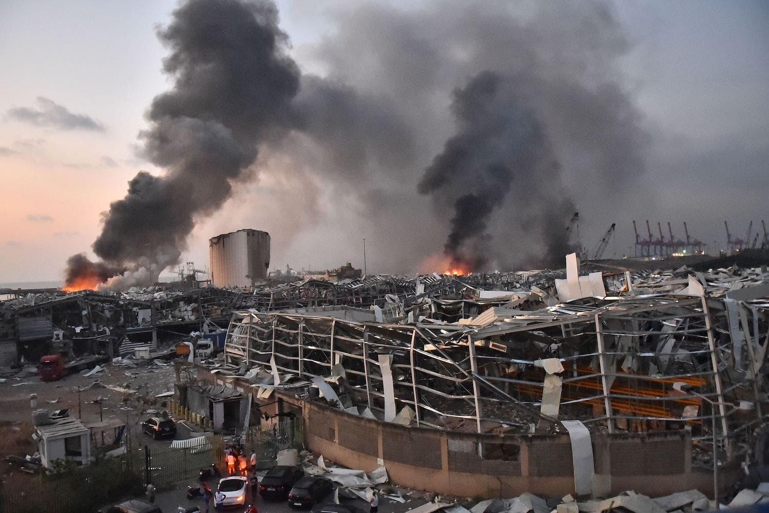 A general view of the scene of an explosion at the port of Lebanon's capital, Beirut, on Aug. 4. (AFP)