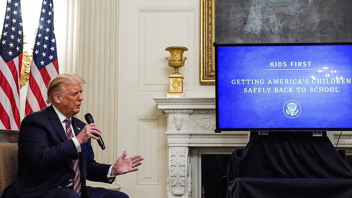 US President Donald Trump speaks during a briefing at the White House, Aug. 12, 2020. (Reuters)