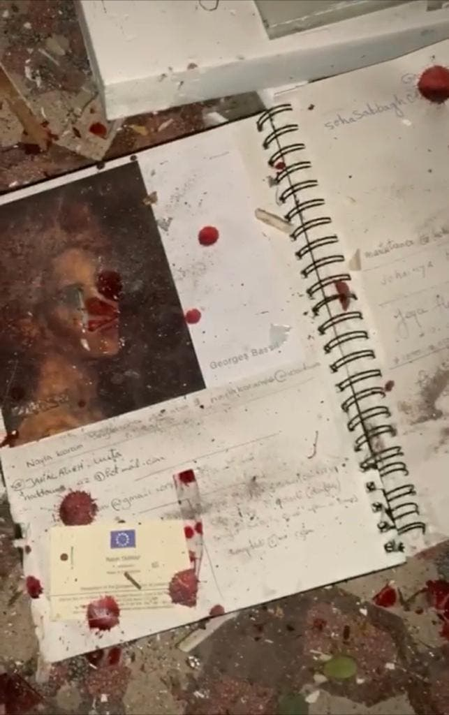 A blood spattered catalogue from Art on 56th. (Noha Moharram)
