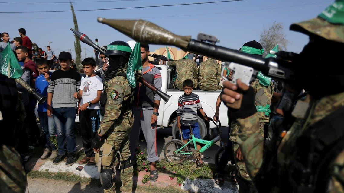 Palestinian Hamas militants take part in an anti-Israel military show in the southern Gaza Strip November 11, 2019. REUTERS/Ibraheem Abu Mustafa