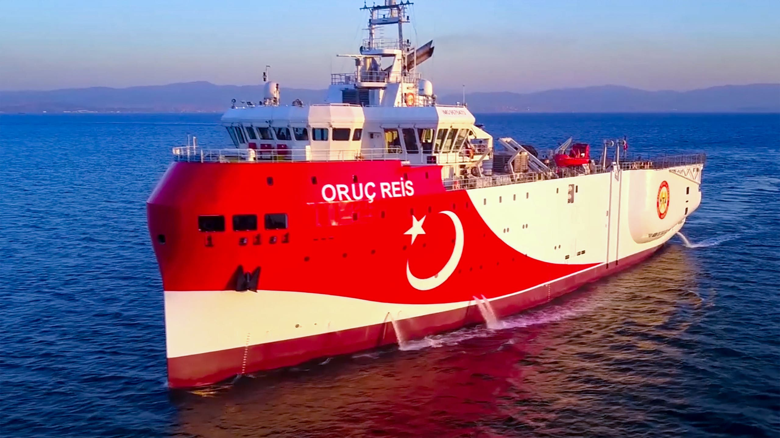 This handout photograph released by the Turkish Defence Ministry on August 12, 2020, shows Turkish seismic research vessel 'Oruc Reis' heading in the west of Antalya on the Mediterranean Sea. (Reuters)