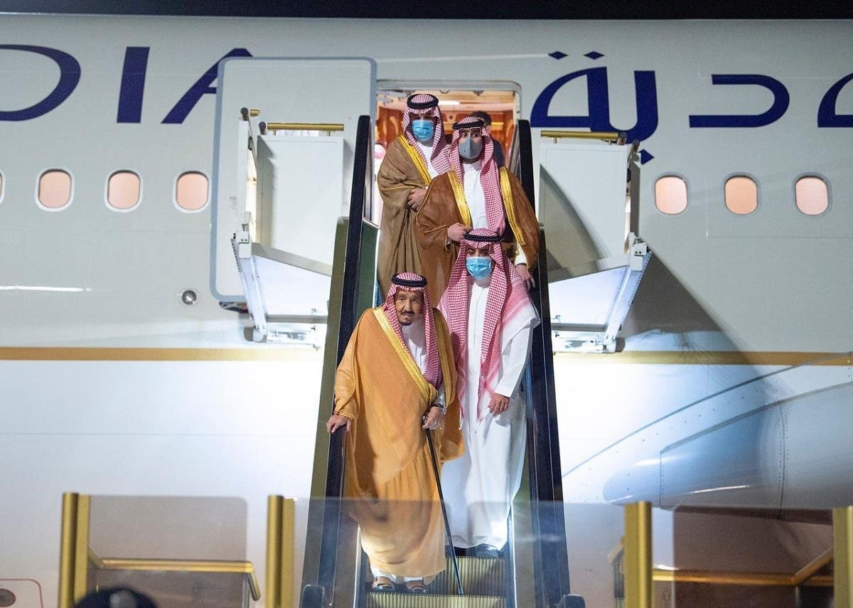 Saudi Arabia's King Salman bin Abdulaziz arrives to NEOM, Aug. 12, 2020. (Supplied)