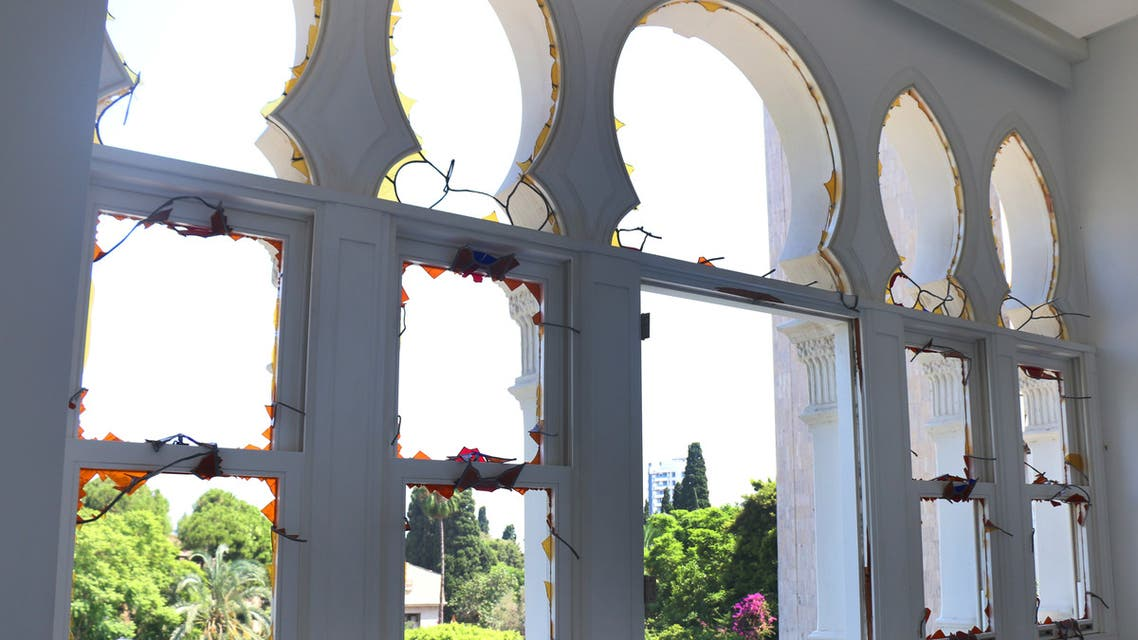 A view from inside the second floor of Sursock Museum, where the stained glass windows were shattered. (Rowina Bou Harb)