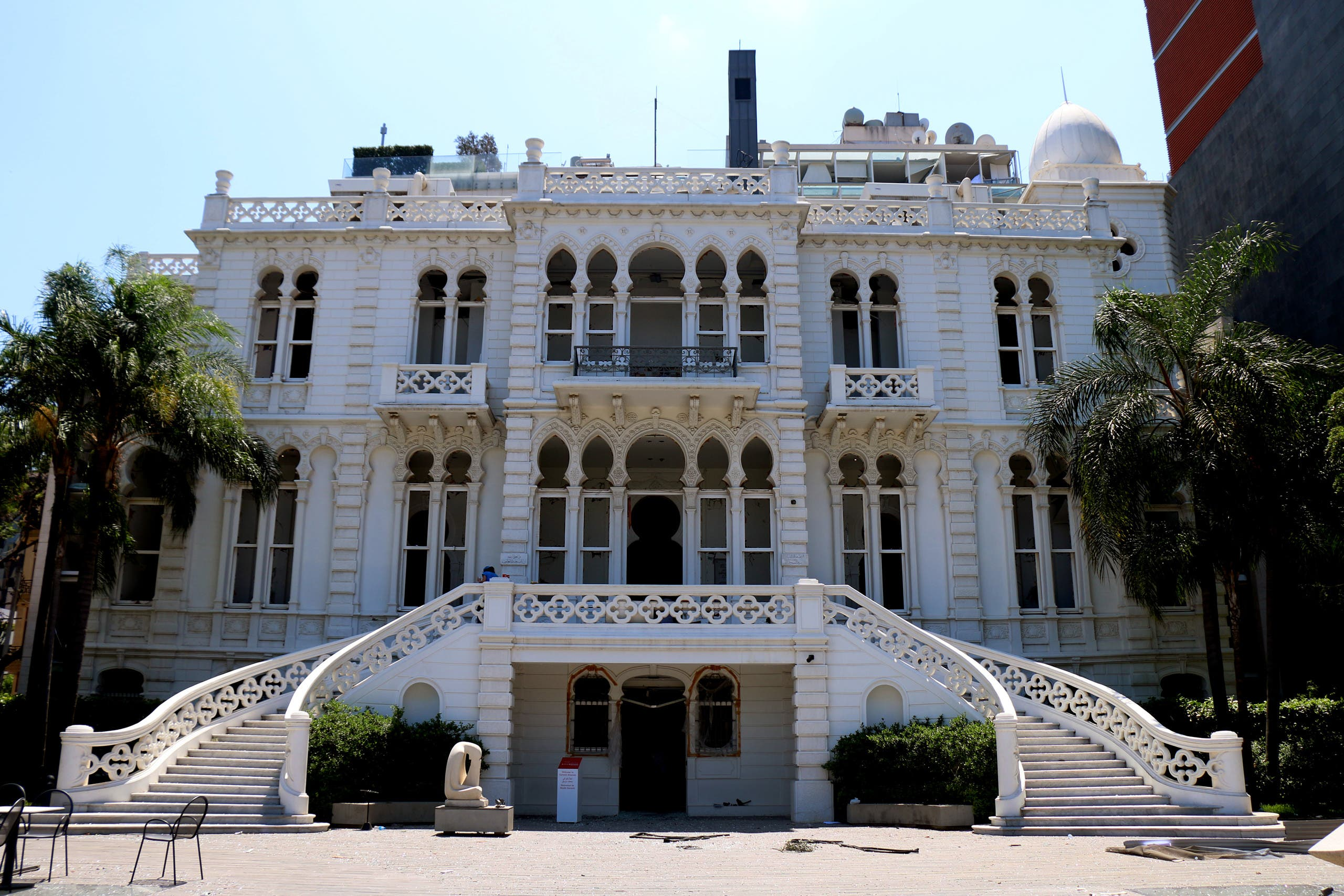 The Sursock Museum was damaged in the Beirut port explosion. Here it is shown with its windows blown out following the blast. (Rowina Bou Harb)