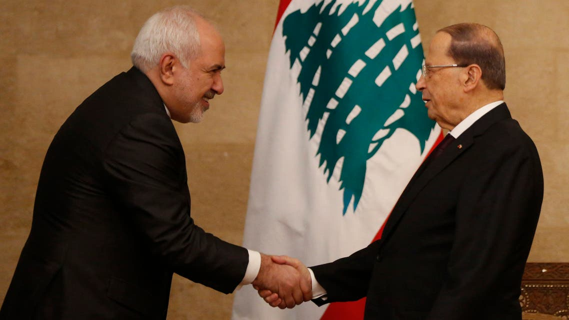 Iran's Foreign Minister Mohammad Javad Zarif, left, shakes hands with Lebanese President Michel Aoun, at the presidential palace, in Baabda east Beirut on Feb. 11, 2019. (File photo: AP)