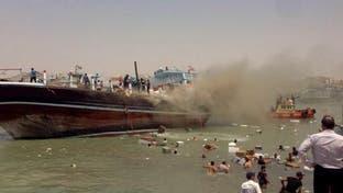 ویدیو؛ آتش گرفتن لنج باری در بندر گناوه استان بوشهر
