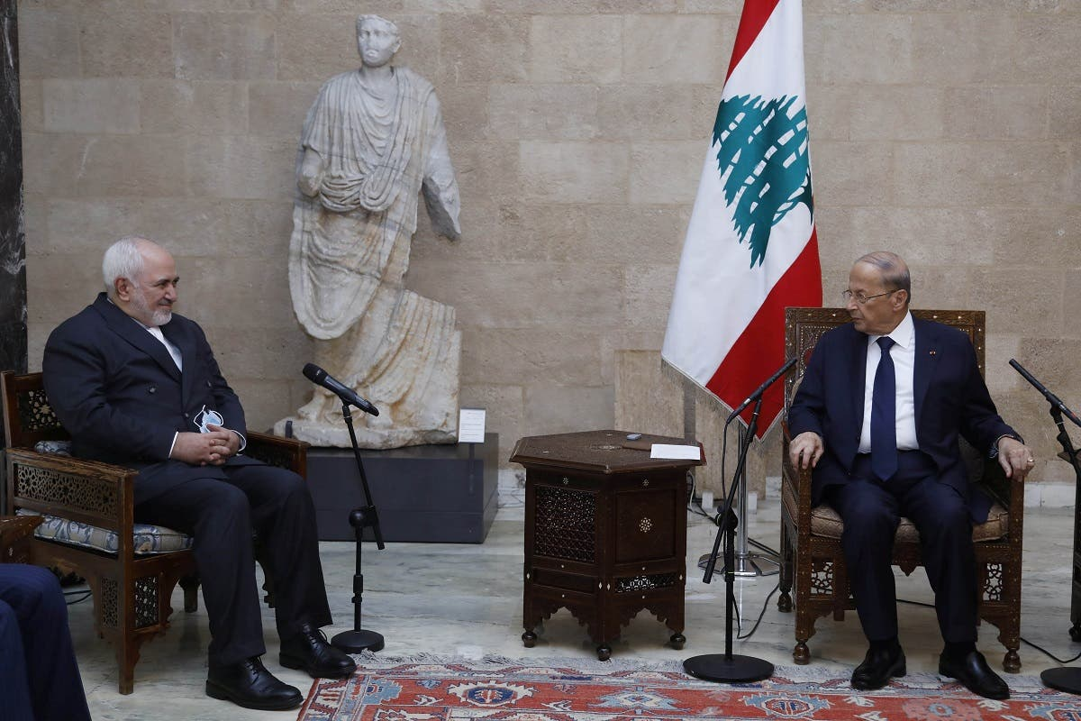 Lebanon's President Aoun meets with Iran's Foreign Minister Zarif at the presidential palace in Baabda. (Reuters)