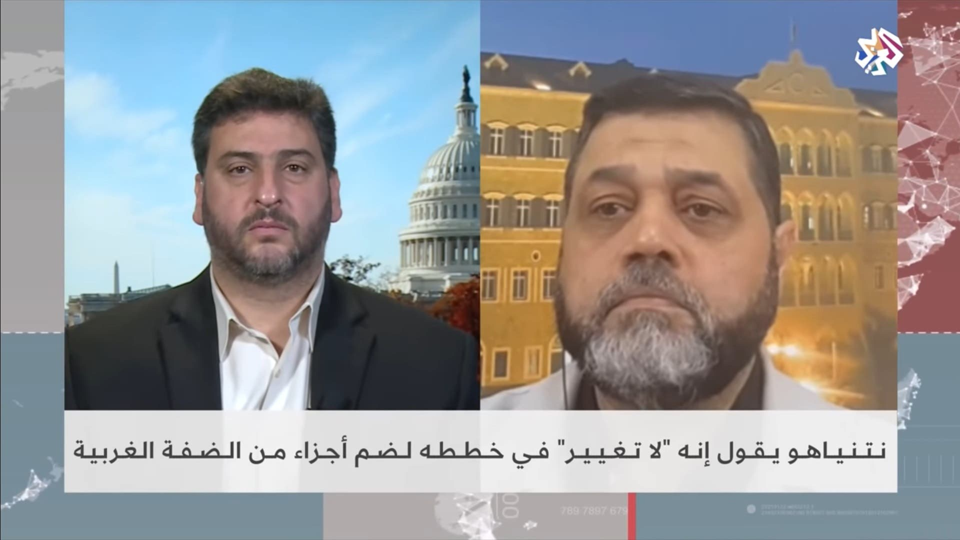 Osama Hamdan (right), the political Islamist group's chief of International Relations, appears on Al Araby television channel. (Photo via Al Araby)