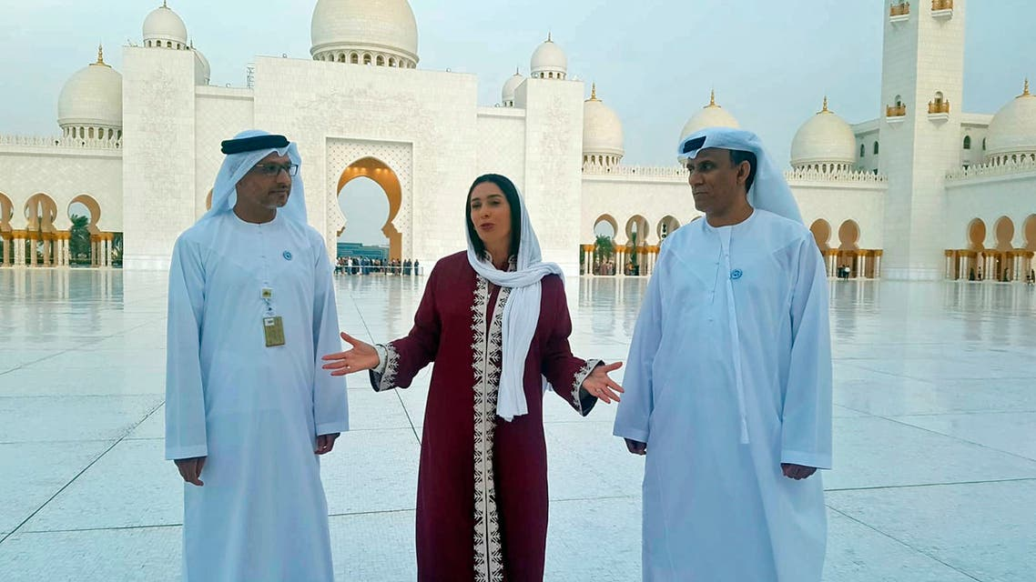 Israeli Minister of Culture and Sport Miri Regev, center, visits Sheikh Zayed Grand Mosque, in Abu Dhabi, United Arab Emirates on Oct. 29, 2018. (AP)