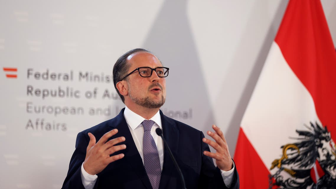 Austrian Foreign Minister Alexander Schallenberg holds a joint news conference with U.S. Secretary of State Mike Pompeo in Vienna, Austria, August 14, 2020. REUTERS/Lisi Niesner/Pool