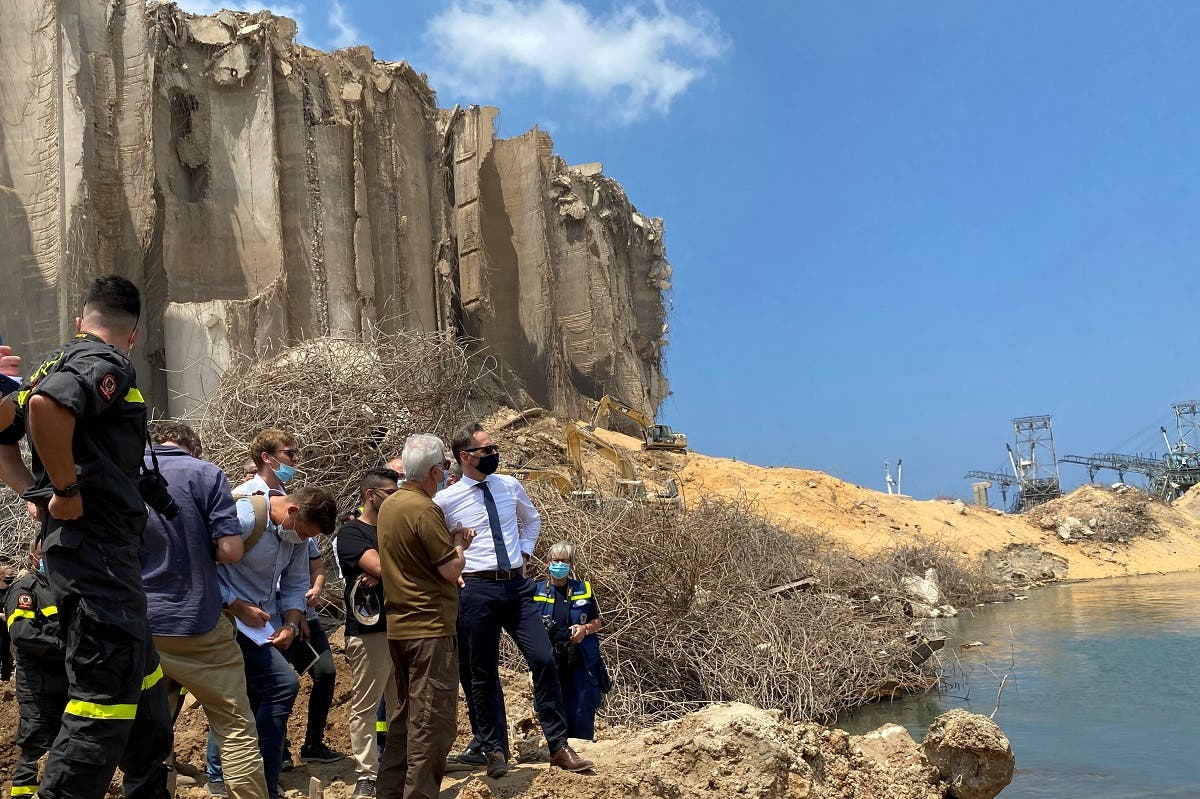 German Foreign Minister Heiko Maas visits the destroyed Port of Beirut, Aug. 12, 2020. (Reuters)