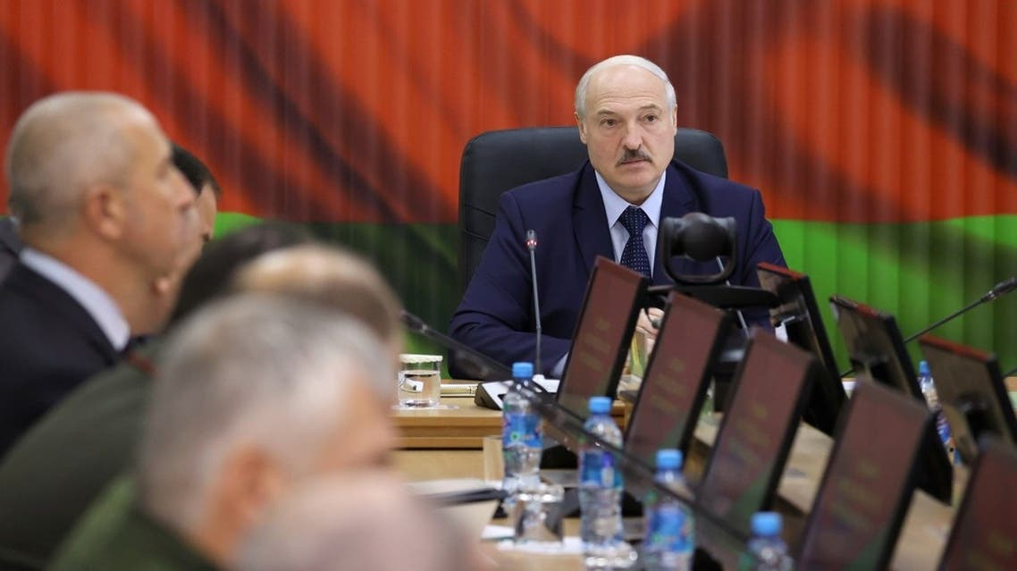 Belarusian President Alexander Lukashenko chairs a meeting at a Strategic Management Centre of the Defense Ministry in Minsk, Belarus August 15, 2020. (Reuters)
