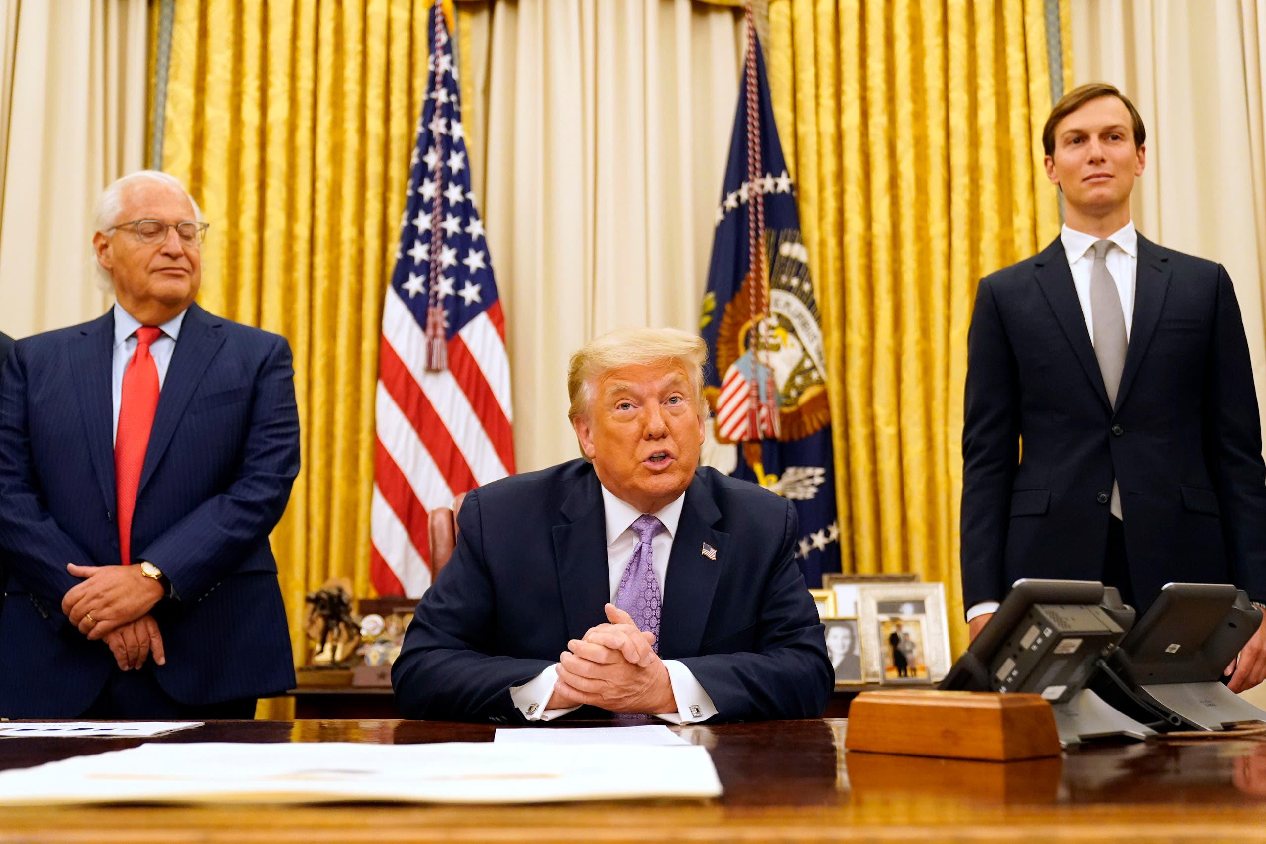 US President Donald Trump speaks in the Oval Office on Aug. 13, 2020, in Washington after announcing the UAE-Israel agreement. (AP)