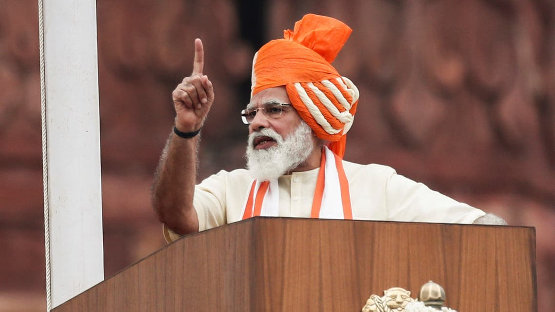 Indian Prime Minister Narendra Modi addresses the nation during Independence Day celebrations at the historic Red Fort in Delhi, India. (Reuters)