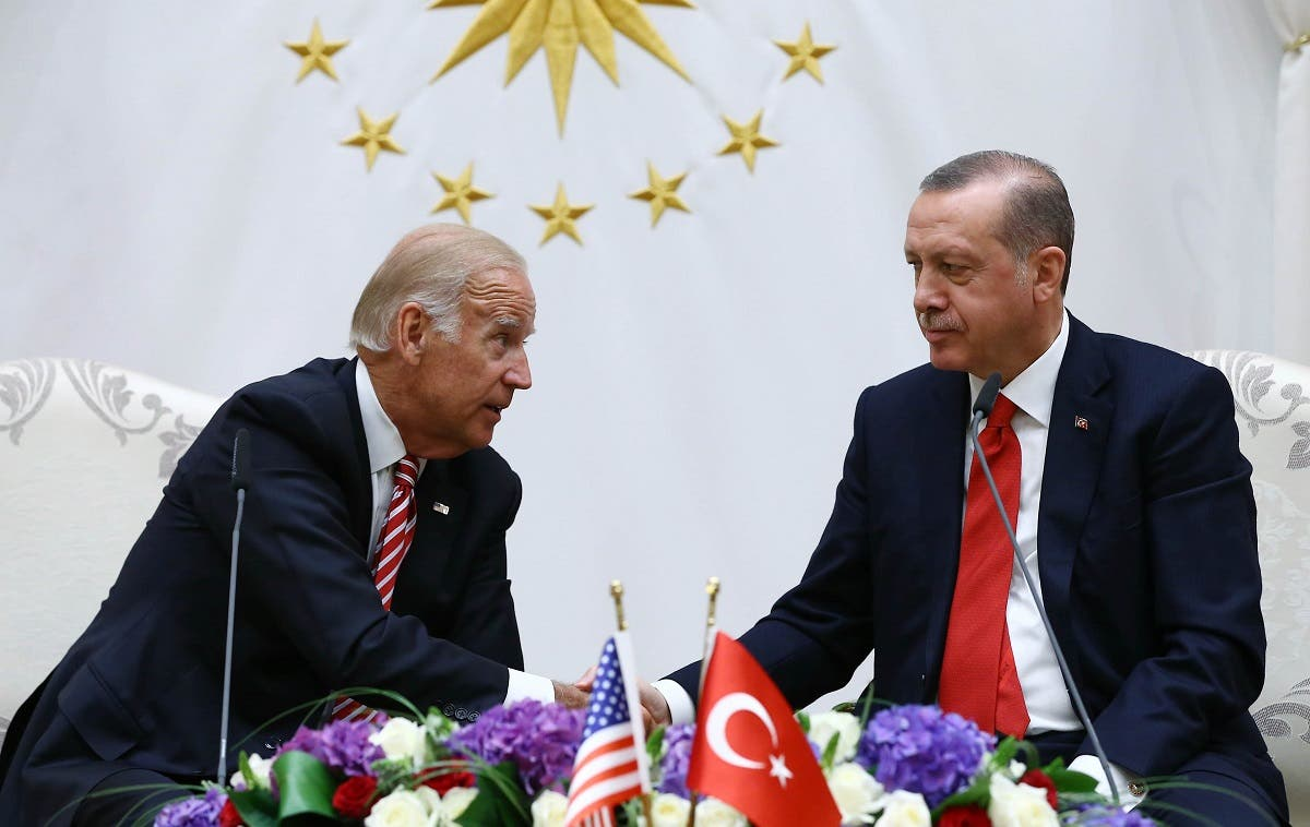Then-US Vice President Joe Biden (L) and Turkish President Recep Tayyip Erdogan (R) speaking at the Turkish Presidential Complex in Ankara during a press conference on August 24 2016. (AFP)