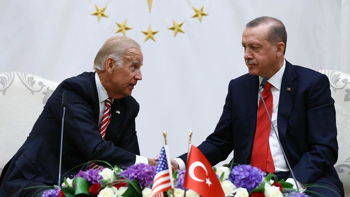 This handout picture taken and released on August 24, 2016 shows US Vice President Joe Biden (L) and Turkish President Recep Tayyip Erdogan (R) speaking at the Turkish Presidential Complex in Ankara during a press conference. (AFP/Turkey's Presidential Press Service/Kayhan Ozer)