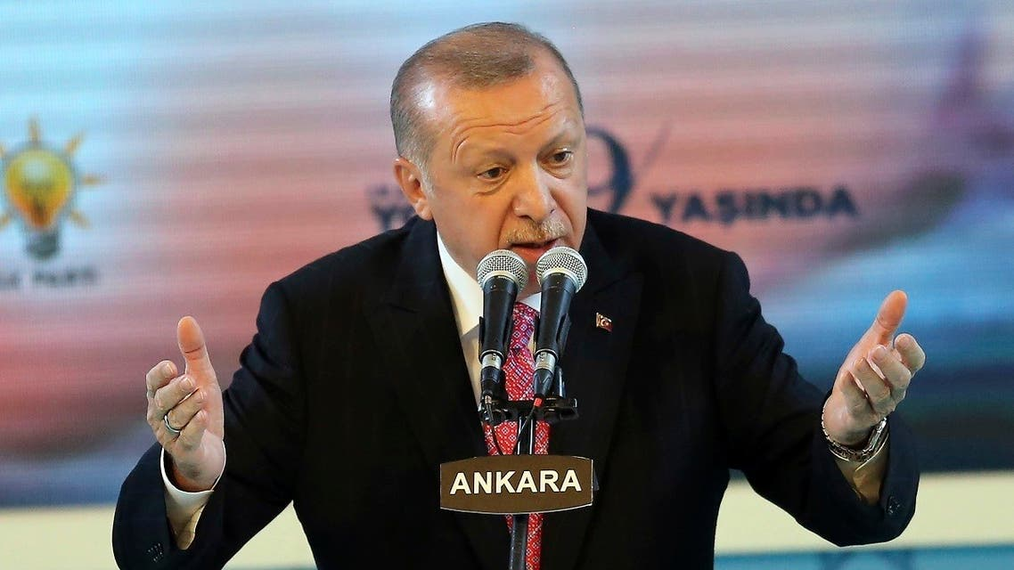 Turkish President and Leader of Turkey's ruling Justice and Development (AK) Party Recep Tayyip Erdogan gestures as he delivers a speech during an event held for the AK Party's 19th foundation anniversary in Ankara, on August 13, 2020. (AFP)
