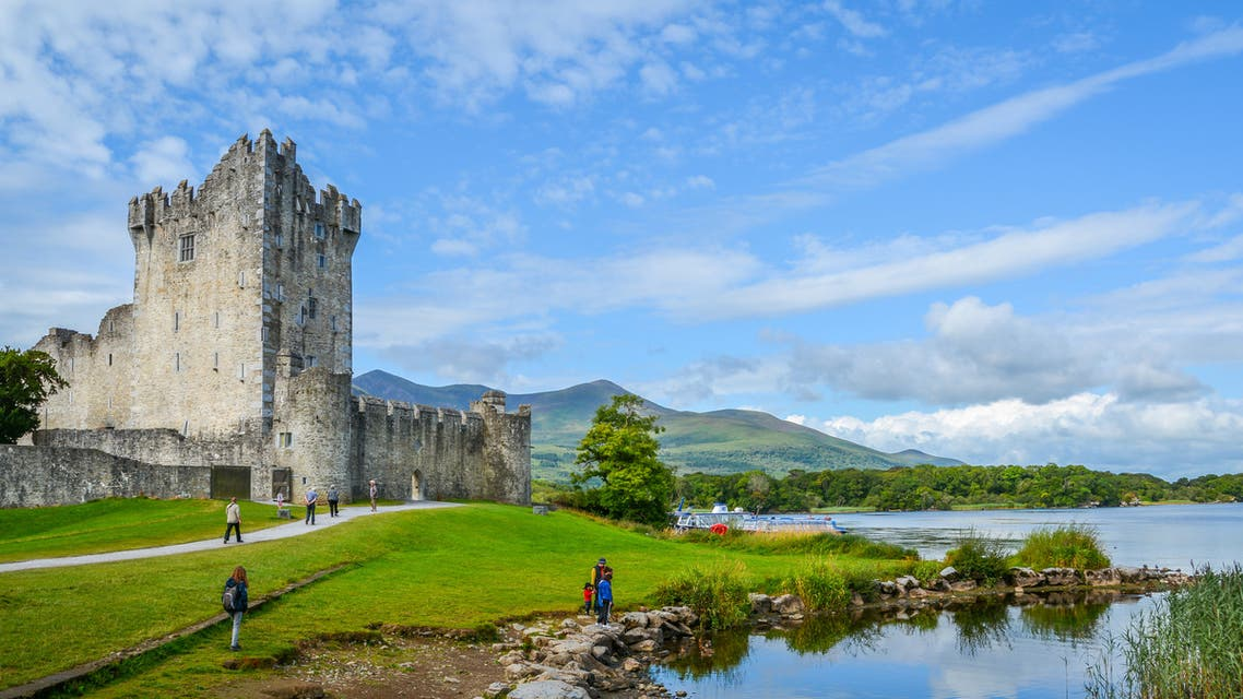 Ross Castle on a sunny morning, County Kerry, Ireland. stock photo