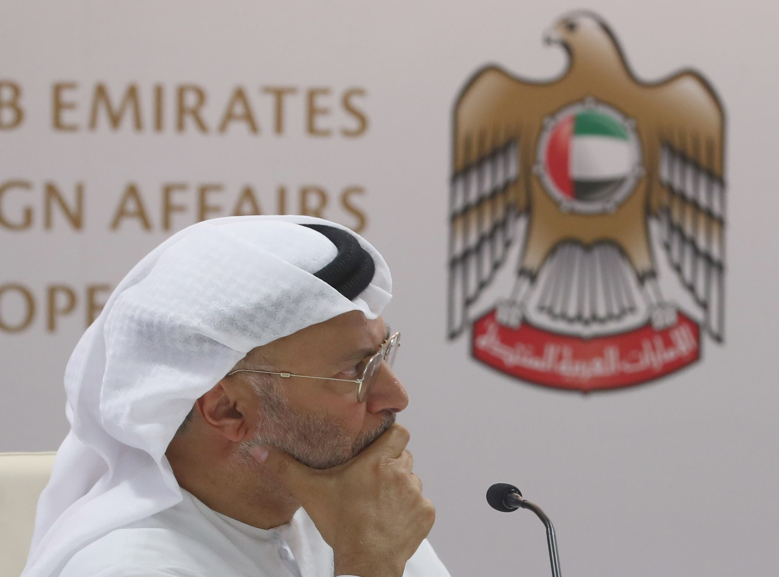 UAE Minister of State for Foreign Affairs, Anwar Gargash at a conference in Dubai on August 13, 2018. (AFP)