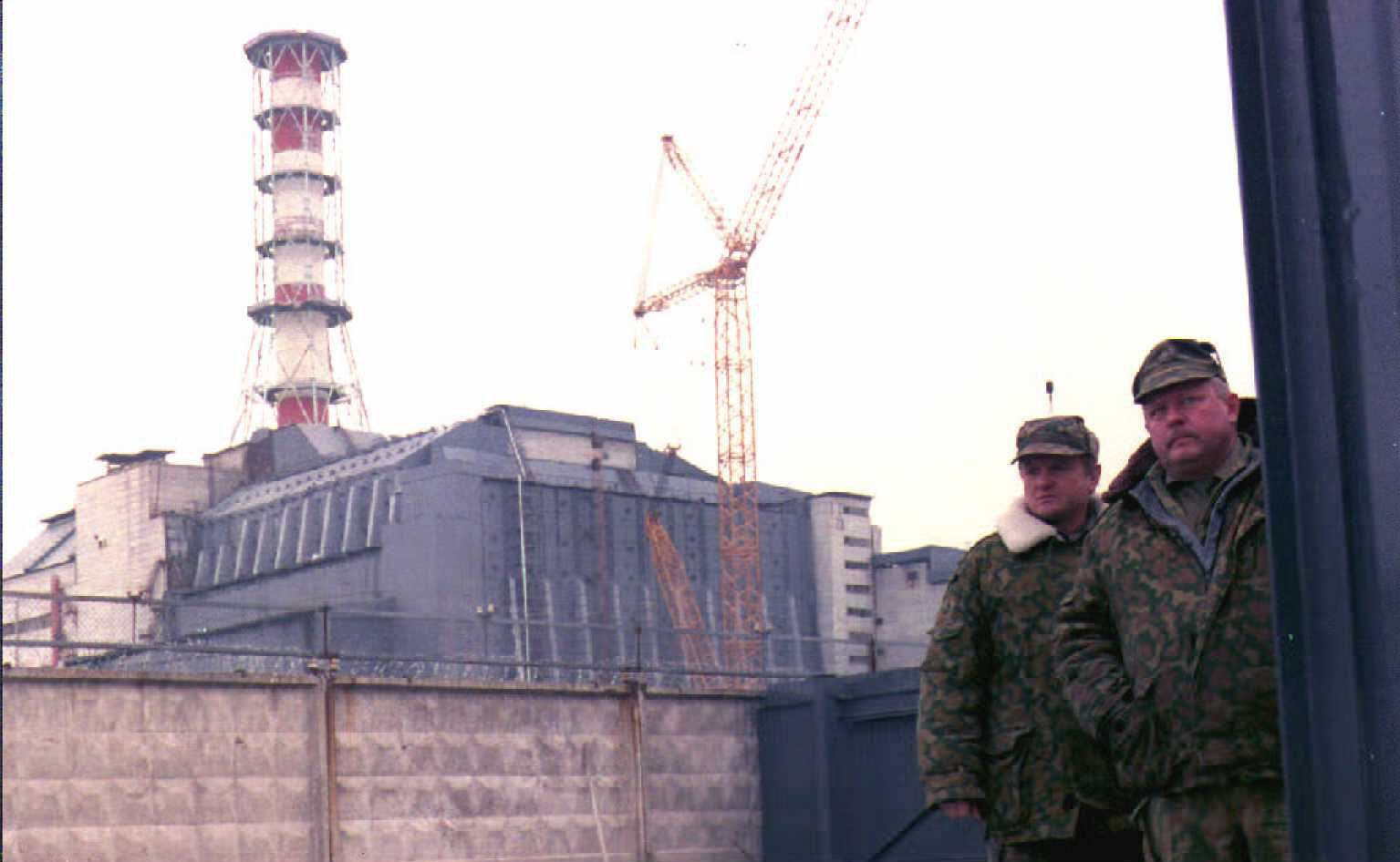 Security personnel guard the entrance of the Chernobyl Nuclear Power Plant, near Pripyat, Ukraine, in 1996. (AFP)