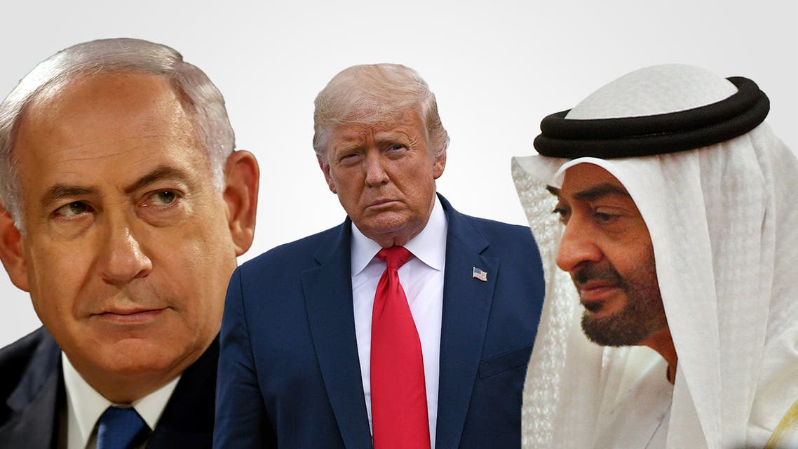 Israeli Prime Minister Benjamin Netanyahu, US President Donald Trump, and Abu Dhabi Crown Prince Sheikh Mohamed bin Zayed Al Nahyan.
