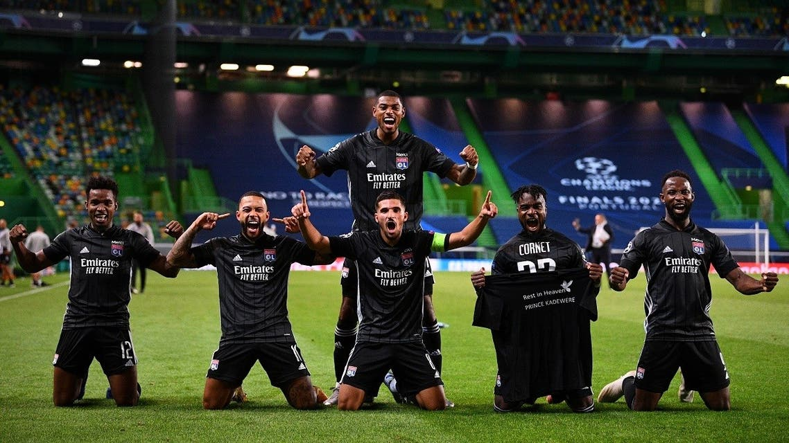 Olympique Lyonnais players celebrate after the match, as play resumes behind closed doors following the outbreak of the coronavirus disease. (Reuters)