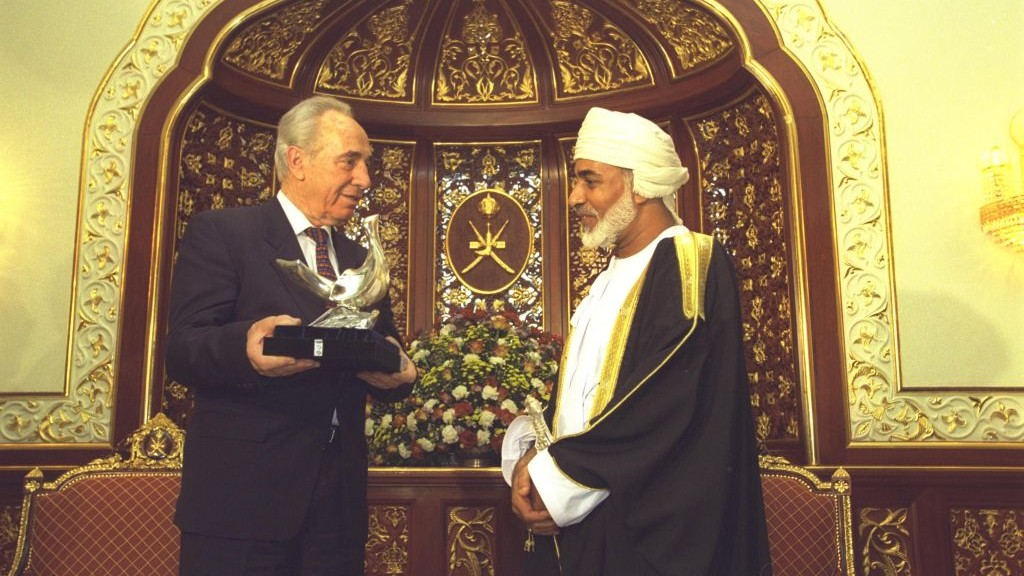 Israeli leader Shimon Peres with Oman's Sultan Qaboos. (Israel Government Press Office)