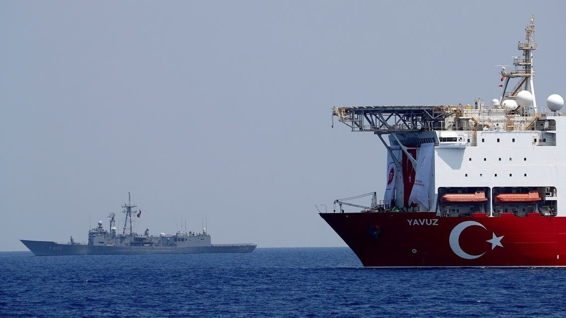 The Turkish drilling vessel Yavuz is seen being escorted by a Turkish Navy frigate in the eastern Mediterranean off Cyprus, August 6, 2019. (Reuters)