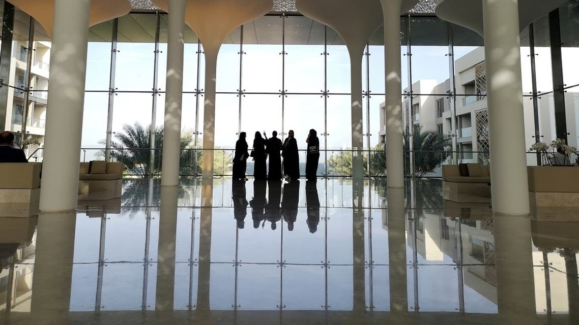 Omani women enjoy the sea view from a hotel lobby in the newly developed property, Al Mouj Muscat, in Muscat, Oman, February 11, 2019. (Reuters)