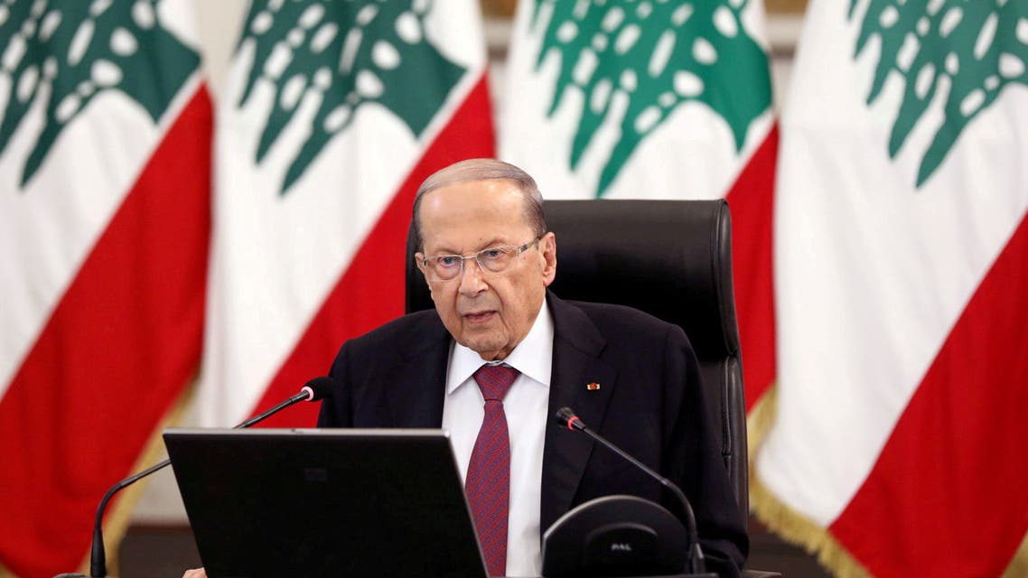 FILE PHOTO: Lebanon's President Michel Aoun delivers a speech at the presidential palace in Baabda, Lebanon, June 25, 2020./File Photo