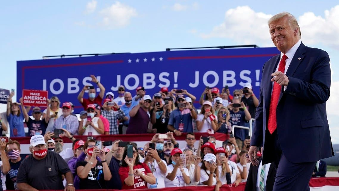 US President Donald Trump arrives to speak at a campaign rally, Aug. 17, 2020, in Oshkosh, Wisconsin. (AP)