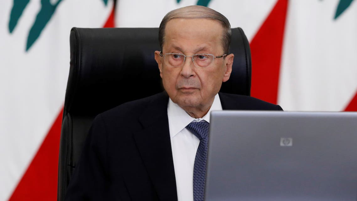 Lebanon's President Michel Aoun meets with Lebanese political leaders to present the plan aimed at steering the country out of a financial crisis, at the presidential palace in Baabda, Lebanon May 6, 2020. Dalati Nohra/Handout via REUTERS ATTENTION EDITORS - THIS IMAGE WAS PROVIDED BY A THIRD PARTY