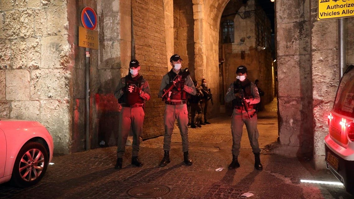 Israeli security personnel secure an entrance to Jerusalem's Old City following the stabbing attack, Aug 17, 2020. (AP)
