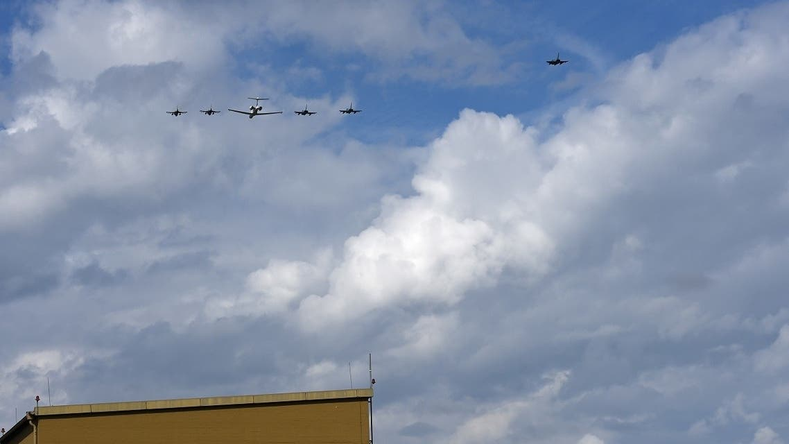 Eurofighter planes of the German Air force Luftwaffe, a Learjet and F-16 planes of the Israeli Air Force fly on August 18, 2020 in a formation over the air force's air base in Fuerstenfeldbruck near Munich, southern Germany, to commemorate the massacre at the 1972 Munich Olympics that left 11 Israelis dead. (AFP)