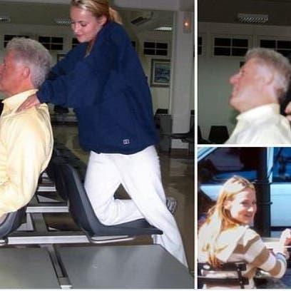 شاهد.. صور مثيرة لبيل كلينتون مع إحدى ضحايا إبستين