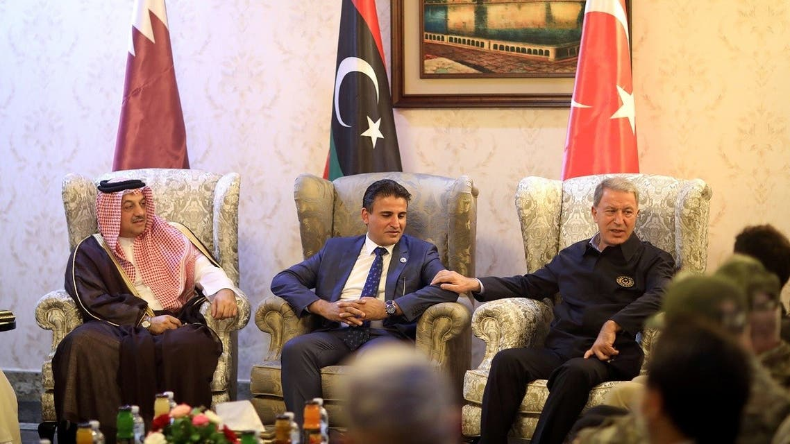 Turkish Defence Minister Hulusi Akar talks with Deputy Defence Minister of Libya's internationally recognised Government of National Accord (GNA) Salahedin al-Namroush and Qatar's Defense Minister Dr. Khalid bin Mohamed Al Attiyah in Tripoli, Libya, August 17, 2020. (Reuters)