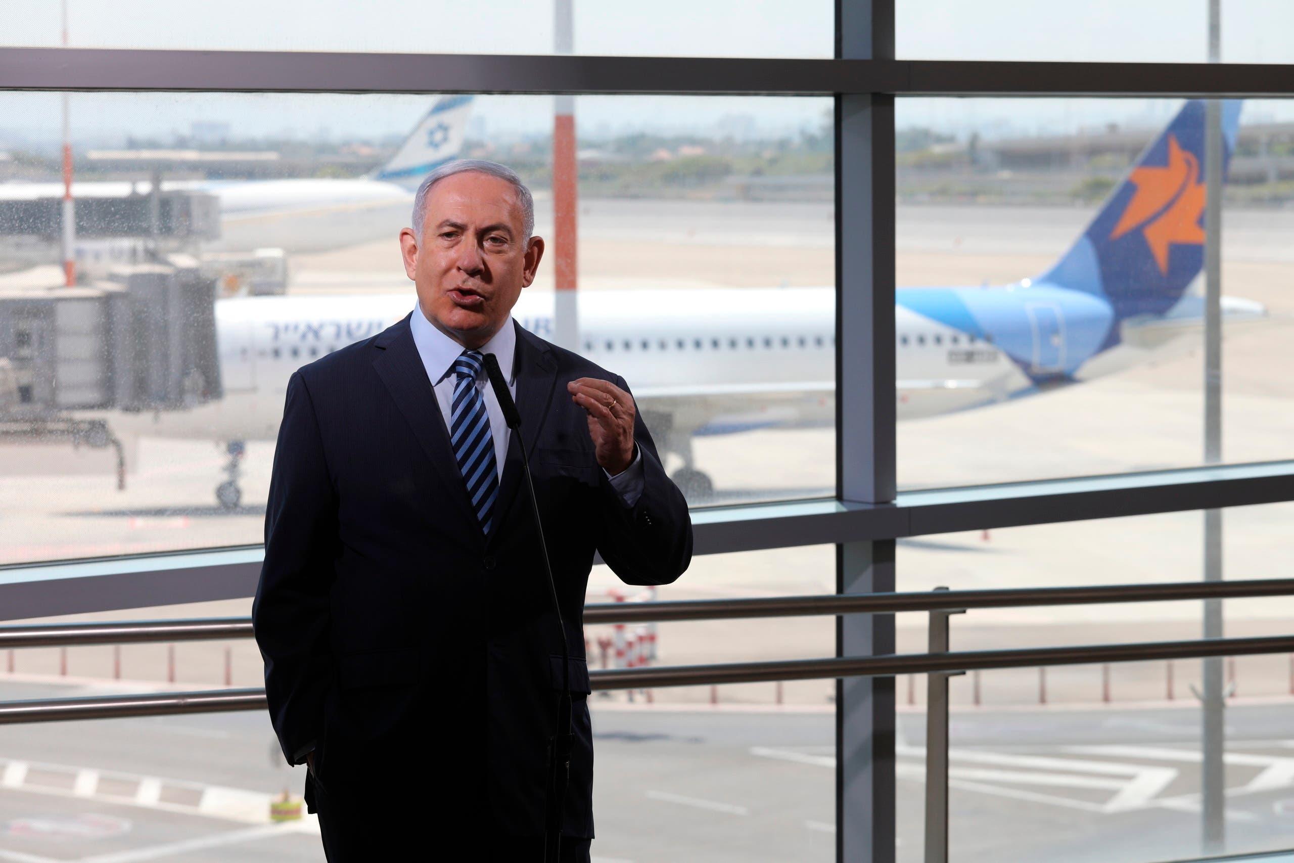Israeli Prime Minister Benjamin Netanyahu tours Ben-Gurion Airport southeast of Tel Aviv, Israel. (AP)