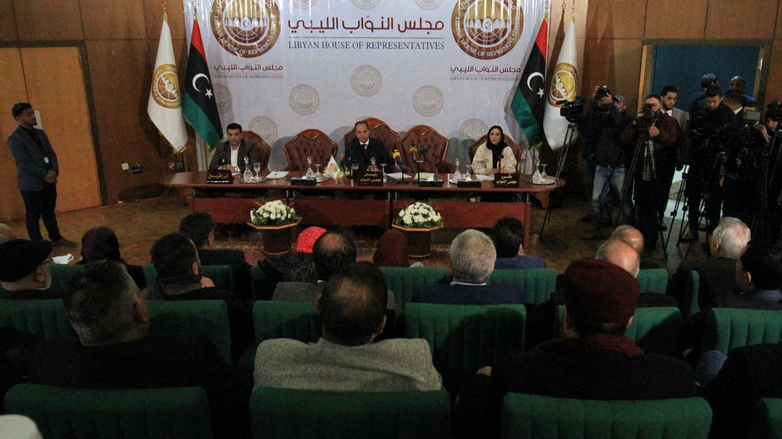The Libyan House of Representatives (HOR) holds an emergency session in the eastern Libyan city of Benghazi on January 4, 2020 to discuss Turkey's prospective military intervention in support of the UN-recognised Tripoli-based government . Libya's elected parliament in the east is allied with military strongman Khalifa Haftar, who is at war with the Tripoli-based GNA, headed by Fayez al-Sarraj.