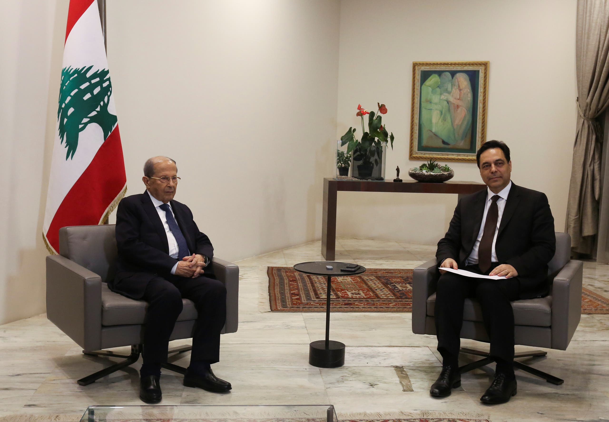 A file photo shows Lebanon's PM Diab meets Lebanon's President Aoun as he submits his resignation at the presidential palace in Baabda, Lebanon August 10, 2020. (Reuters/Aziz Taher)