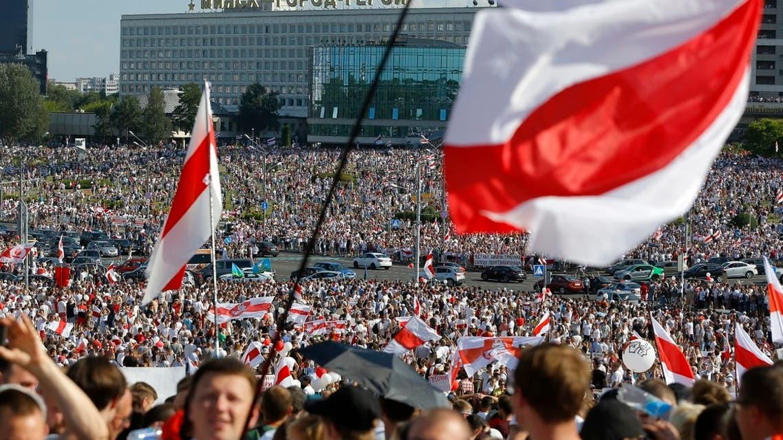 Opposition supporters rally in the center of Minsk, Belarus, Aug. 16, 2020. (AP)