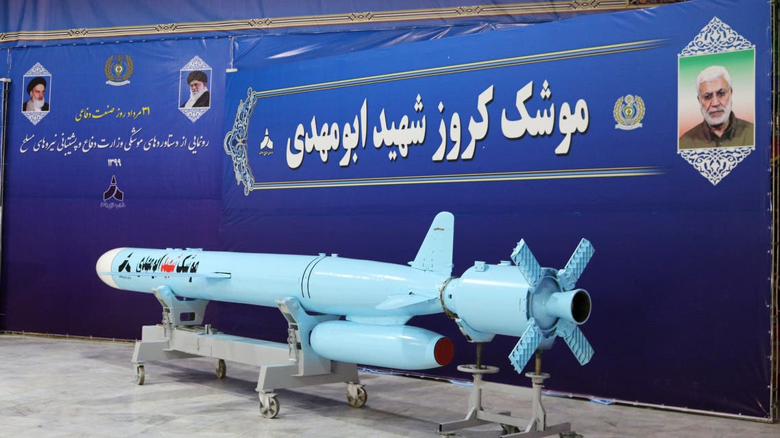 A new cruise missile unveiled by Iran and called martyr Abu Mahdi is seen in an unknown location in Iran in this picture received by Reuters on August 20, 2020. (West Asia News Agency via Reuters)