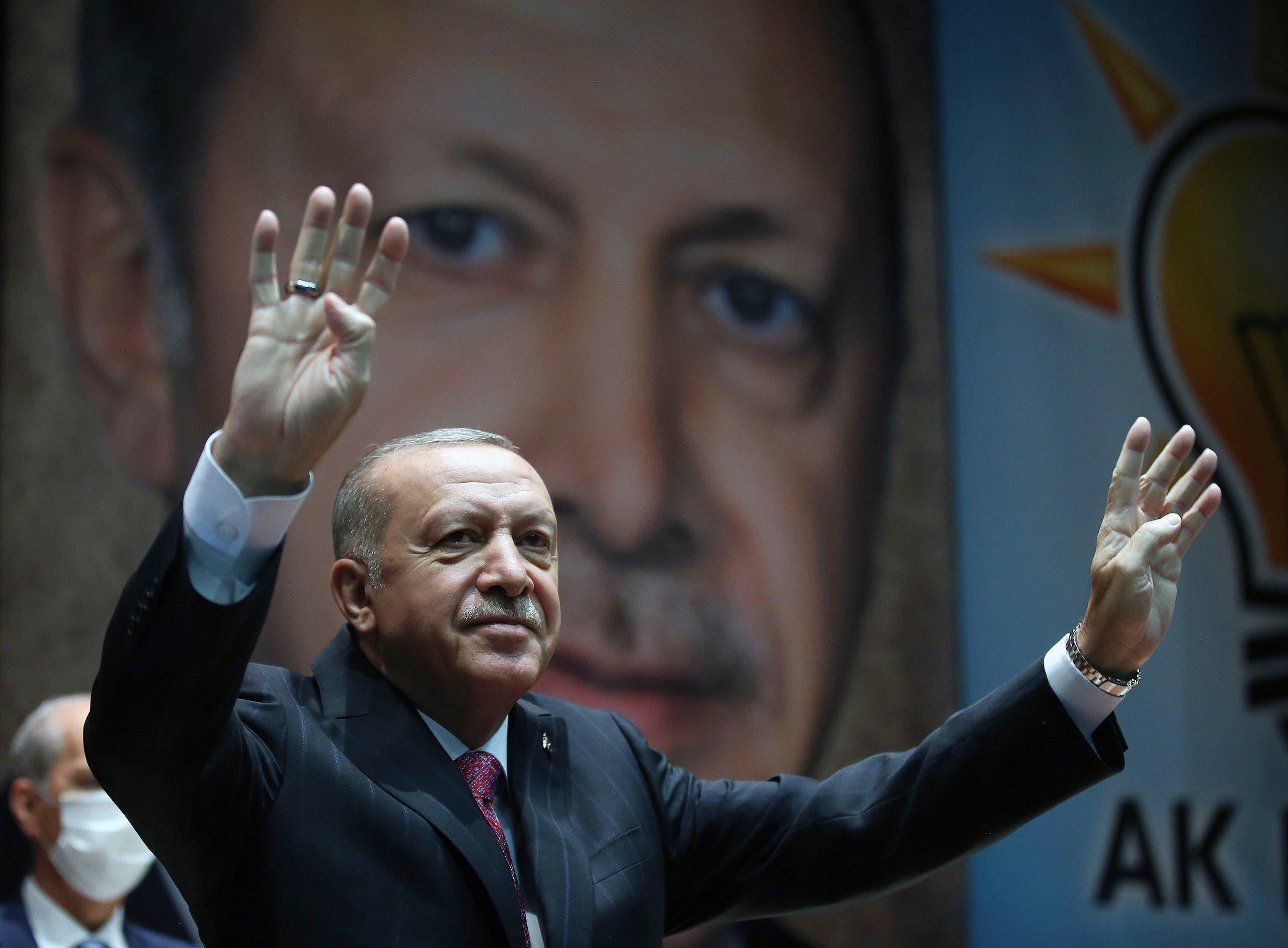 Turkey's President Recep Tayyip Erdogan gestures as he addresses his party members, in Ankara, Turkey on Aug. 13, 2020. (AP)