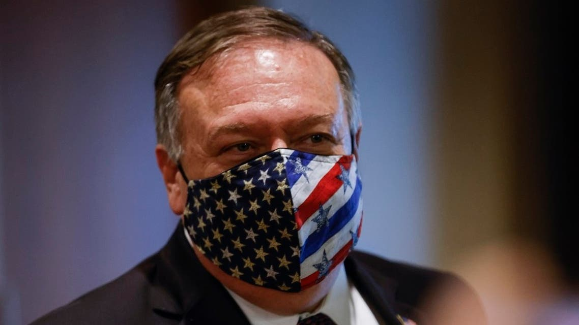 US Secretary of State Mike Pompeo after meeting with members of the UN Security Council about the Iran arms embargo, in New York, Aug. 20, 2020. (AFP)