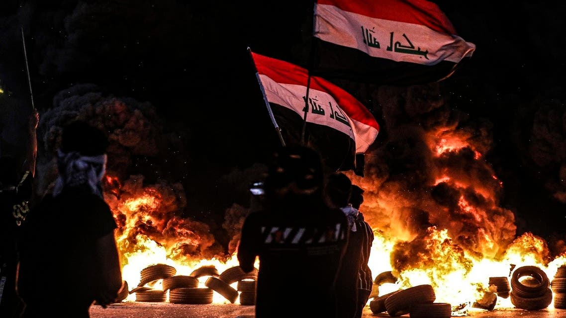 Protesters partake in an anti-government protest demanding free elections and against corruption in Basra, Aug. 17, 2020. (AP)