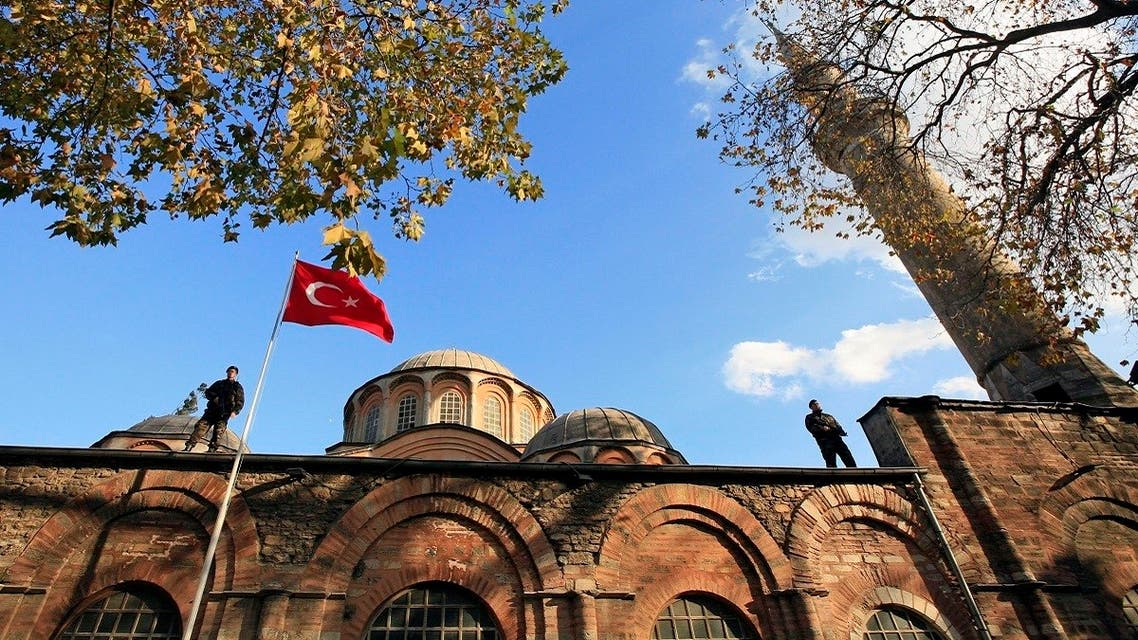 Turkish police officers stand guard on the top of the Kariye (Chora) museum. (File photo: Reuters)